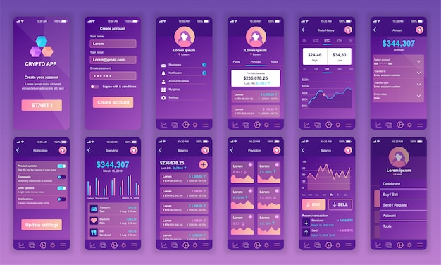 Ensemble d'écrans d'interface utilisateur, d'ux et d'interface graphique cryptocurrency app flat Vecteur Premium
