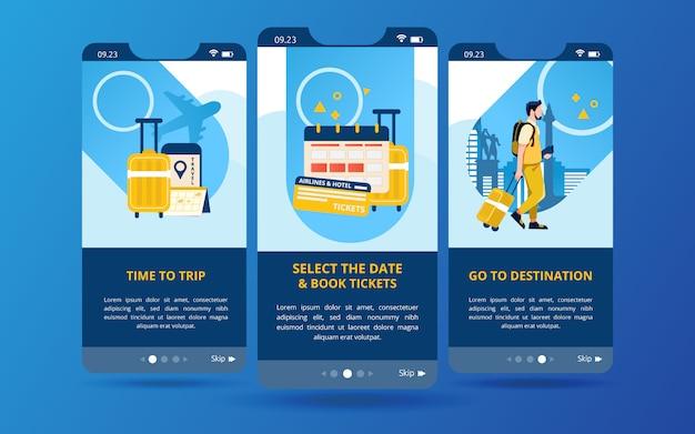 Un ensemble d'écrans s'affiche avec des illustrations de la préparation avant de voyager Vecteur Premium