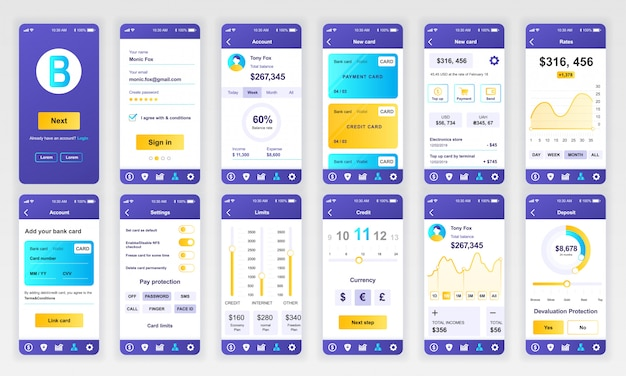 Ensemble d'écrans ui, ux, gui banking app flat Vecteur Premium