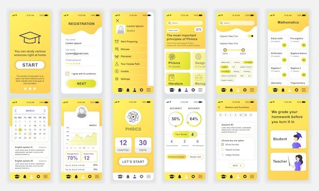 Ensemble d'écrans ui, ux, gui education app flat Vecteur Premium