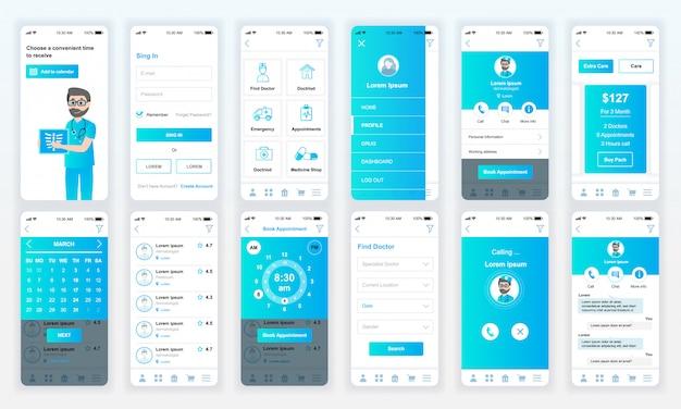 Ensemble d'écrans ui, ux, gui medicine app flat Vecteur Premium