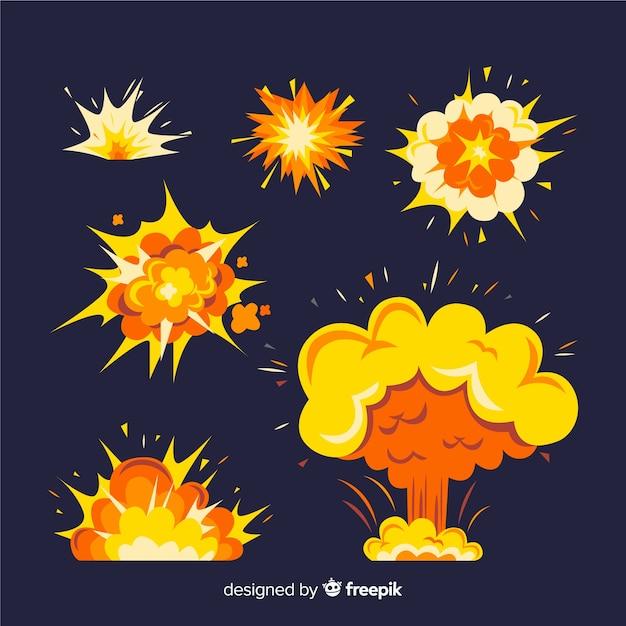 Ensemble d'effets d'explosion de bombe Vecteur gratuit