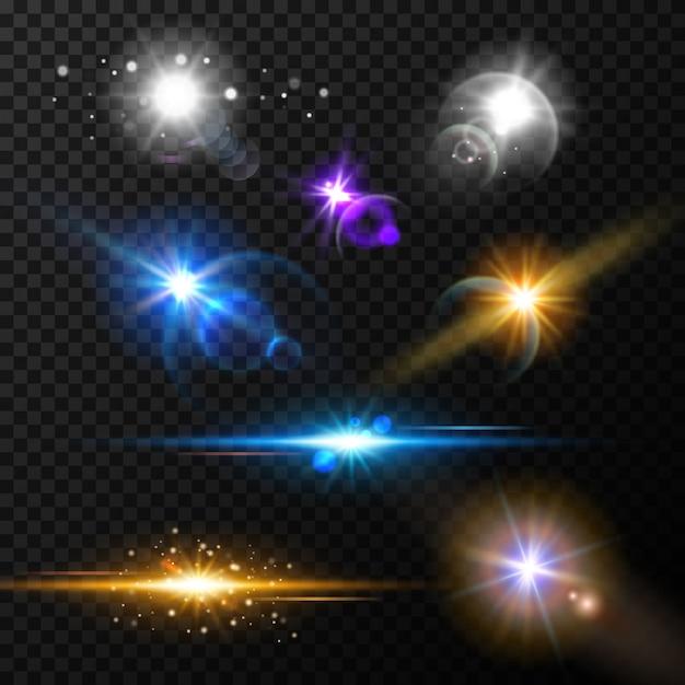 Ensemble d'effets de lumière lueur réaliste Vecteur Premium