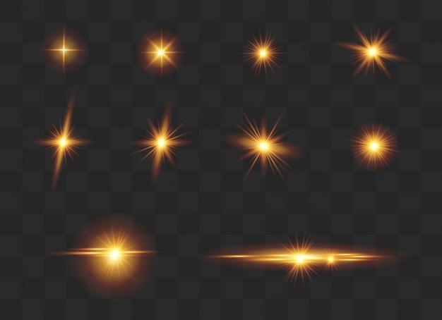 Ensemble D'effets Lumineux, Lens Flare, Glitter, Line, Sun Flash. Vecteur Premium