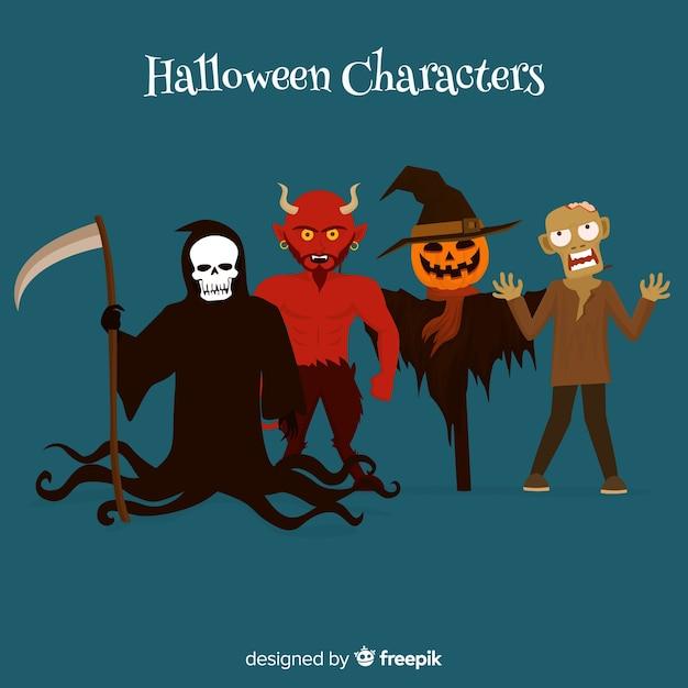 Ensemble effrayant de personnages d'halloween au design plat Vecteur gratuit