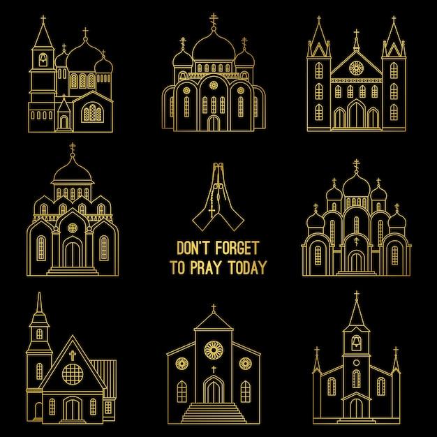 Ensemble église chrétienne gold line Vecteur Premium