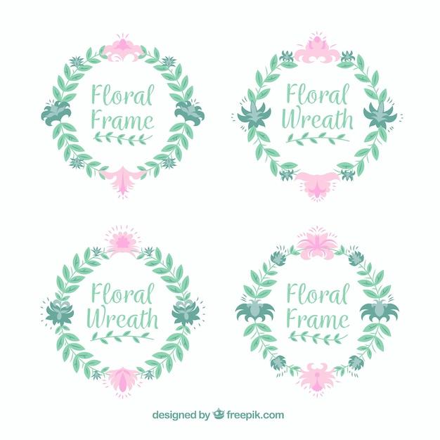 Ensemble élégant de cadres floraux circulaires Vecteur gratuit