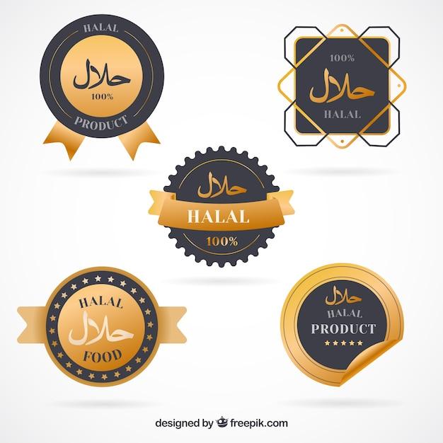 Ensemble élégant d'étiquettes d'aliments halal avec un style doré Vecteur gratuit