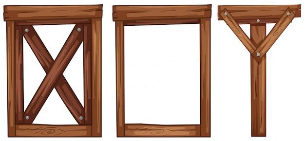 Un ensemble d'élément en bois Vecteur gratuit
