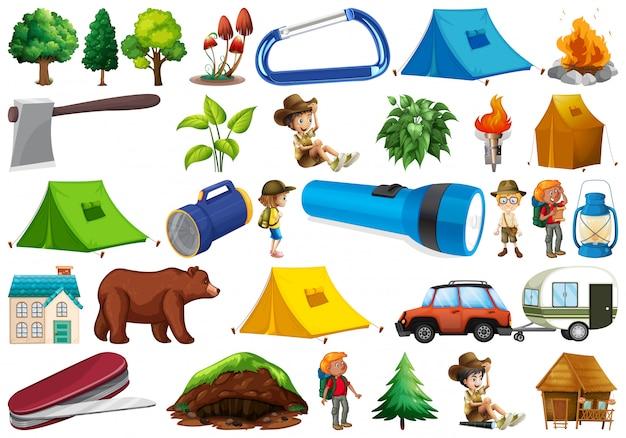 Ensemble d'élément de camping Vecteur Premium