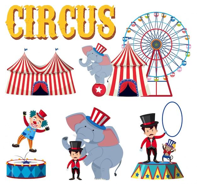 Un ensemble d'élément de cirque Vecteur Premium