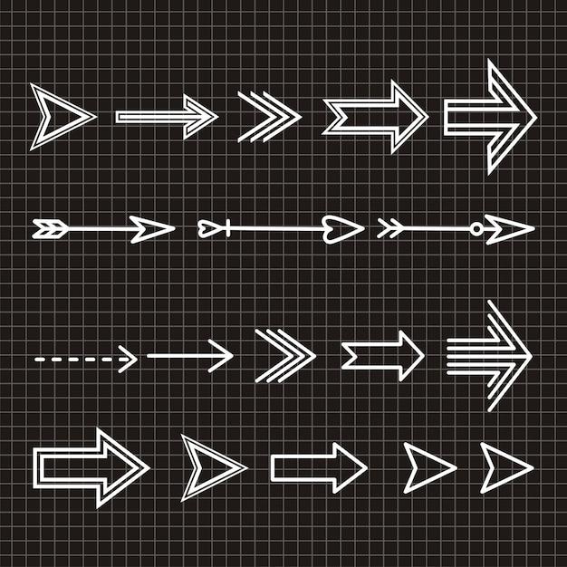 Ensemble d'élément de design dessiné à la main flèche Vecteur Premium