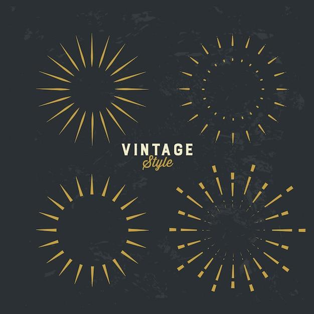 Ensemble d'élément de design sunburst or vintage Vecteur Premium