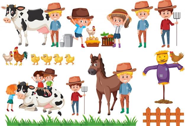 Ensemble d'éléments d'agriculteur Vecteur Premium
