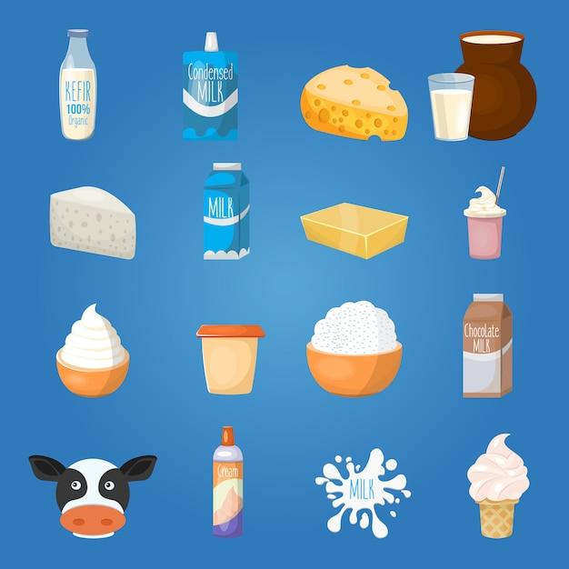 Ensemble D'éléments Alimentaires Au Lait Vecteur gratuit