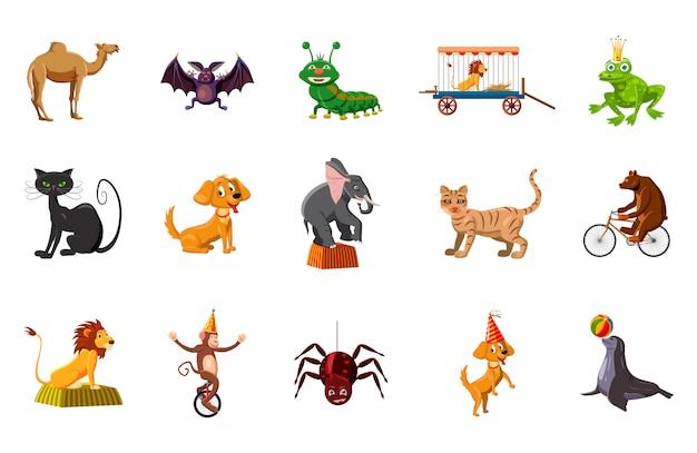 Ensemble d'éléments d'animaux. ensemble de dessin animé d'animaux Vecteur Premium