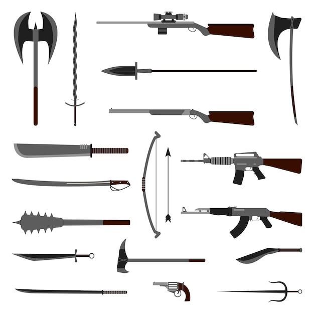 Ensemble d'éléments d'arme. médiéval et moderne Vecteur Premium