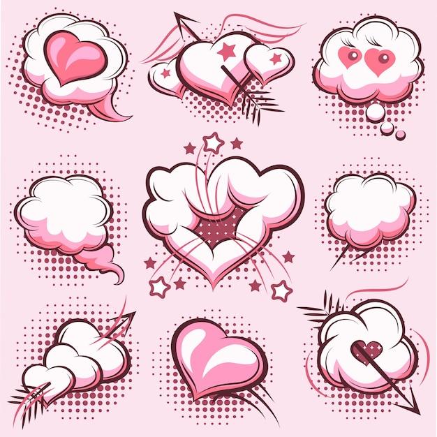 Ensemble D'éléments De Bande Dessinée Pour La Saint Valentin Avec Des Explosions, Des Coeurs Et Des Flèches Dans Le Rose. Nuages, Amour. Illustration Vectorielle Vecteur gratuit