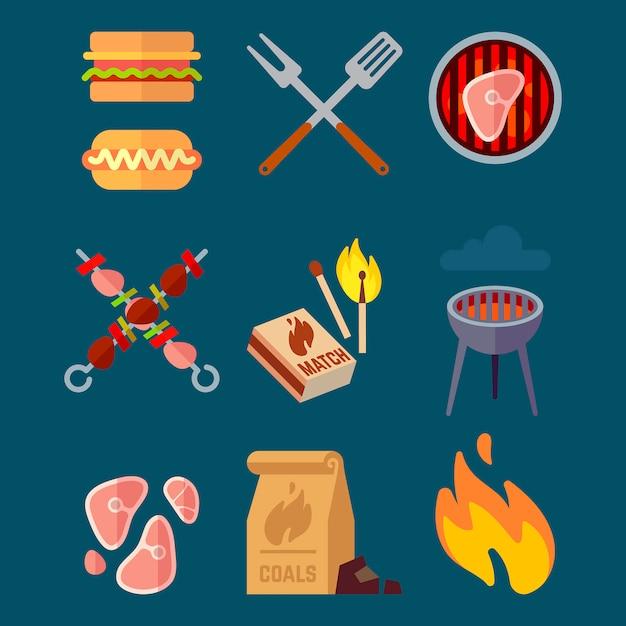 Ensemble d'éléments de barbecue plat. illustration vectorielle de camping isolé. bbq cuisson de la viande, bœuf sain grillé Vecteur Premium