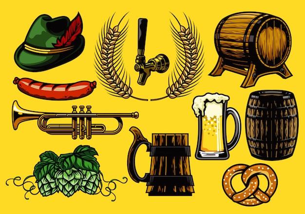Ensemble d'éléments de bière Vecteur Premium