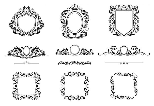 Ensemble d'éléments de cadre de décorations vintage. Vecteur Premium