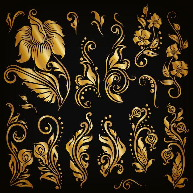 Ensemble d'éléments calligraphiques décoratifs dessinés à la main, floral doré Vecteur Premium