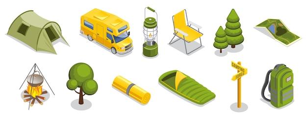 Ensemble D'éléments De Camping Isométrique Vecteur gratuit