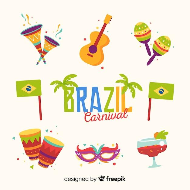 Ensemble d'éléments de carnaval brésilien Vecteur gratuit