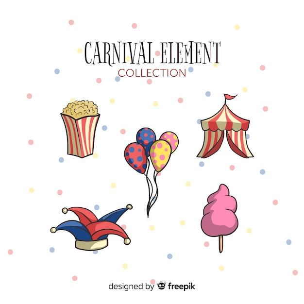 Ensemble d'éléments de carnaval dessinés à la main Vecteur gratuit