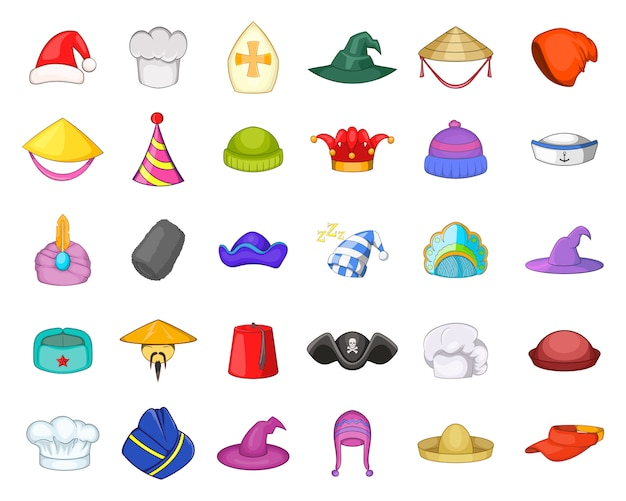 Ensemble d'éléments de chapeau. jeu de dessin animé d'éléments vectoriels chapeau Vecteur Premium