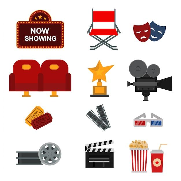 Ensemble d'éléments de cinéma Vecteur Premium