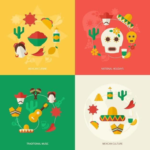 Ensemble d'éléments de composition mexique Vecteur gratuit