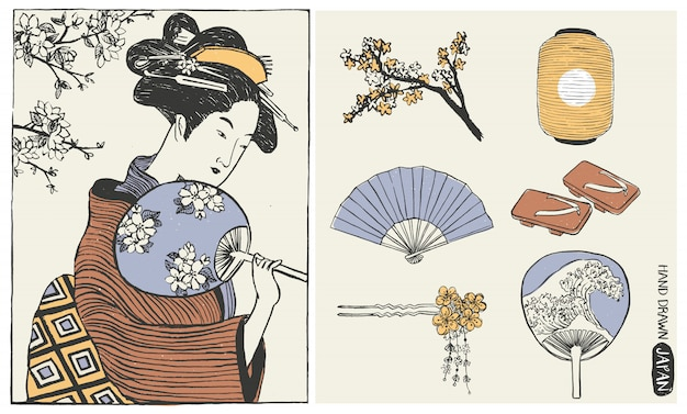 Ensemble D'éléments De Conception Du Japon. Femme Geisha. Illustration De Fille Japonaise. Vecteur Premium
