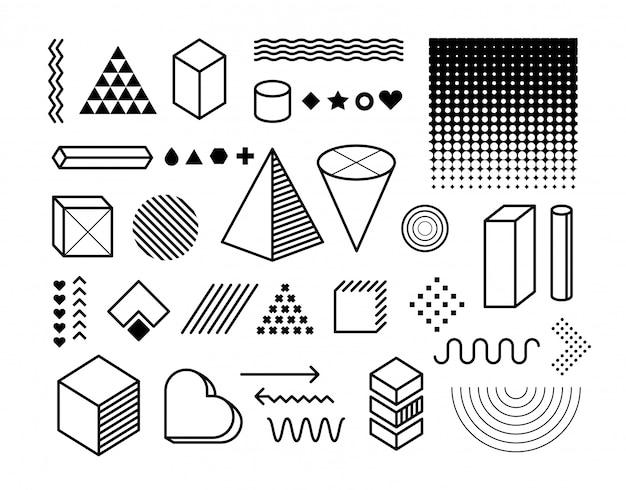 Ensemble D'éléments De Conception. éléments Graphiques à La Mode Vecteur Premium