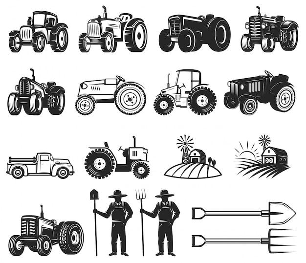 Ensemble D'éléments De Conception De Marché Des Agriculteurs. Vecteur Premium