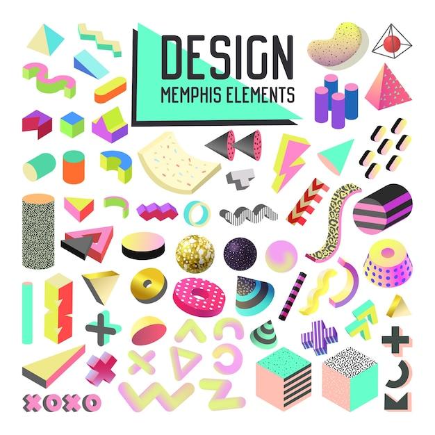 Ensemble D'éléments De Conception De Style Abstrait Memphis. Collection De Formes Géométriques Avec Formes 3d Et Fluide Vecteur Premium