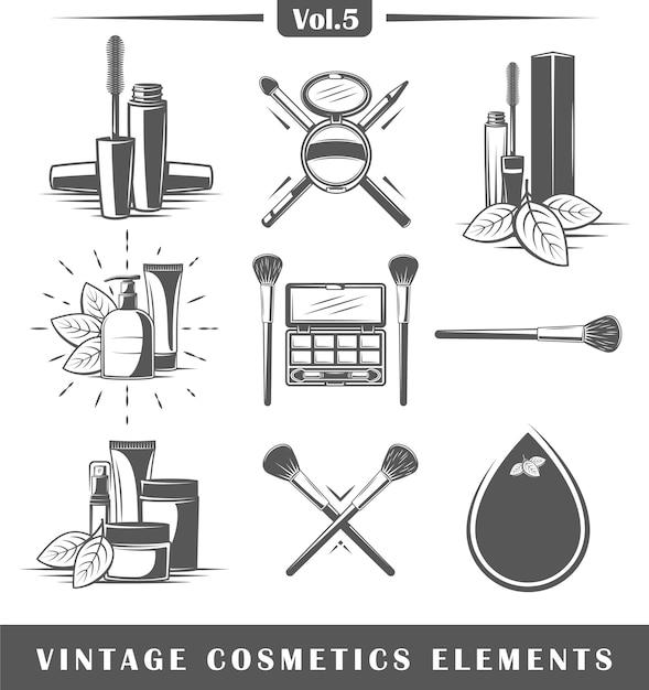 Ensemble D'éléments Cosmétiques Vintage Isolé Sur Fond Blanc. Vecteur Premium