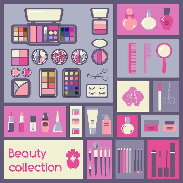 Ensemble d'éléments cosmétiques Vecteur Premium