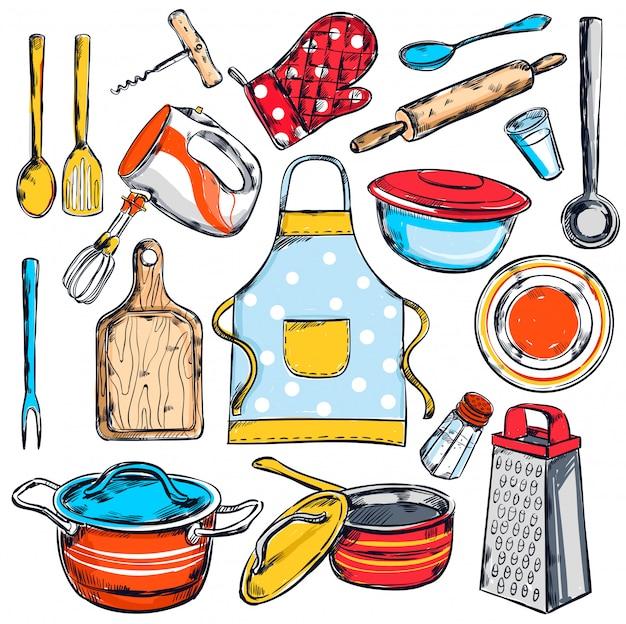 Ensemble D'éléments De Cuisine à Domicile Vecteur gratuit