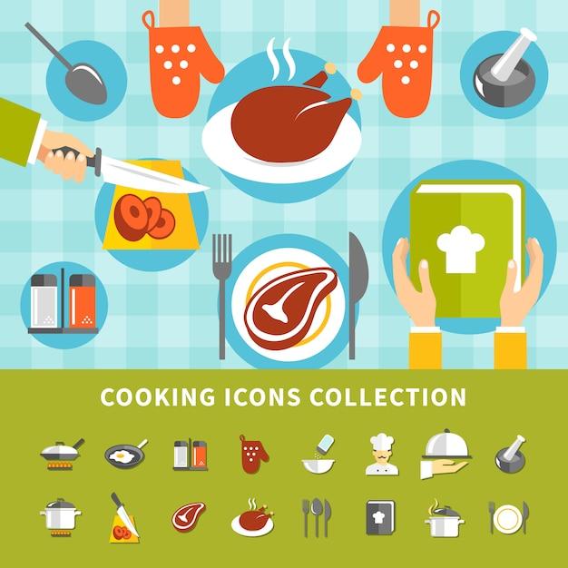 Ensemble d'éléments de cuisson Vecteur gratuit