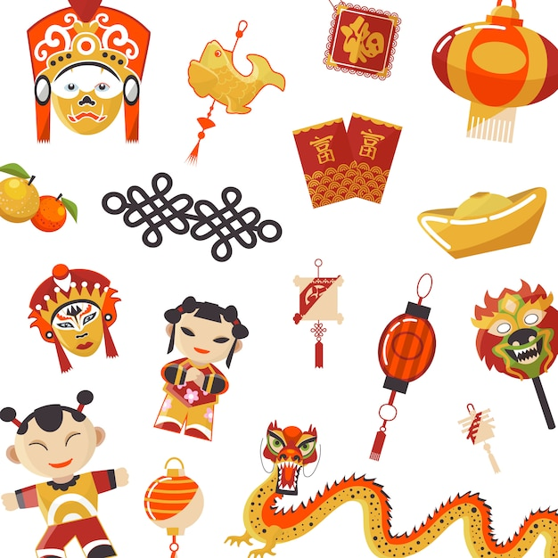 Ensemble d'éléments de la culture japonaise et chinoise Vecteur Premium