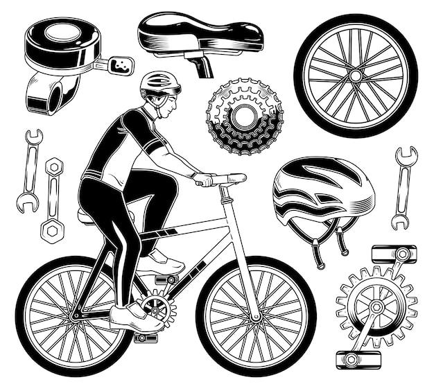 Ensemble D'éléments De Cycliste Vecteur gratuit