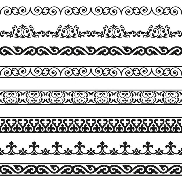Ensemble D'éléments Décoratifs Design Vintage Frontières Sans Soudure Vecteur Premium