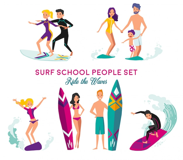 Ensemble d'éléments décoratifs d'école de surf Vecteur gratuit