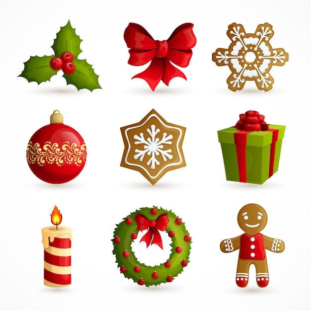 Ensemble D'éléments Décoratifs De Noël Vecteur gratuit