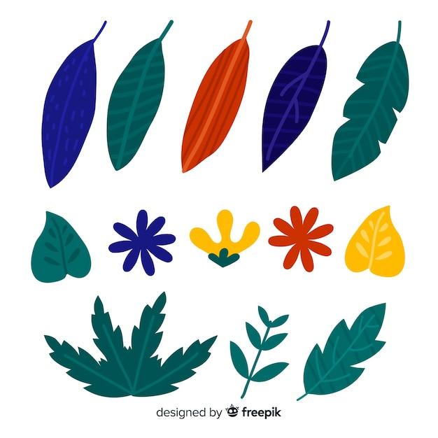 Ensemble d'éléments de décoration florale dessinés à la main Vecteur gratuit
