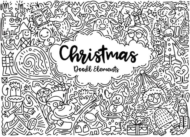 Ensemble d'éléments de design de noël dans un style doodle Vecteur Premium