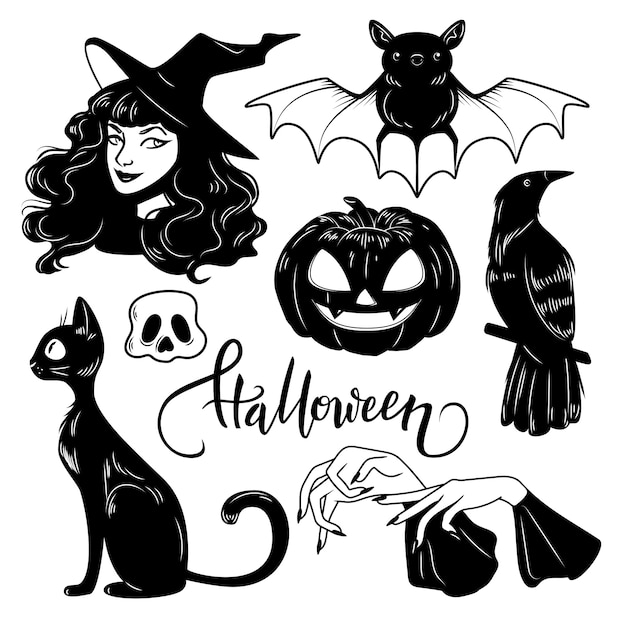 Ensemble d'éléments dessinés à la main halloween mignon, illustration vectorielle Vecteur Premium
