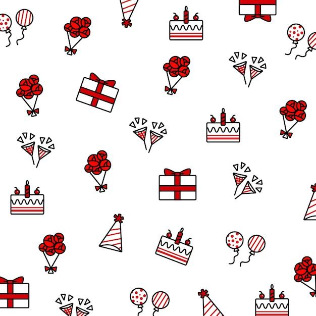 Ensemble D'éléments Doodle Anniversaire, Y Compris Gâteau D'anniversaire, Ballon, Chapeau De Fête, Popper Parti, Bou Vecteur Premium