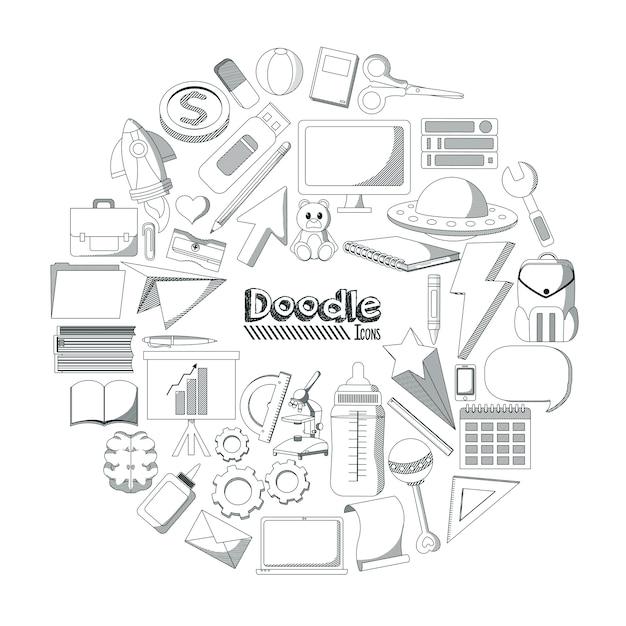 Ensemble D'éléments Doodles Vecteur Premium